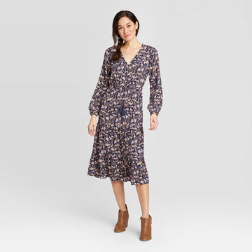 Women's Floral Print Long Sleeve Midi Dress - Knox Rose Navy