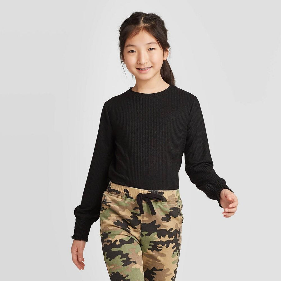 Girls' Long Sleeve Metallic Knit Top - art class Black