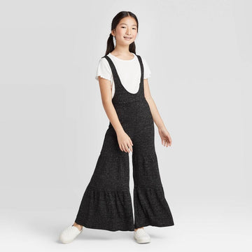 Girls' Rib Jumpsuit with Lurex - art class Black