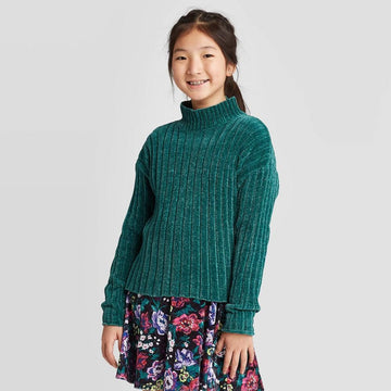 Girls' Ribbed Mock Neck Sweater - Art Class - Green
