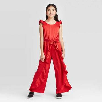 Girls' Ruffle Satin Jumpsuit - art class Red