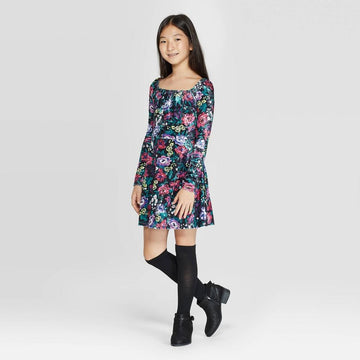 Girls' Square Neck Velvet Floral Dress - art class Black