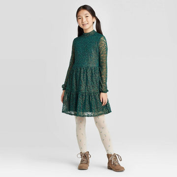Girls' Tiered Lace Dress - Art Class - Green