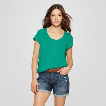 Universal Thread Women's Short Sleeve Henley Shirt