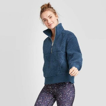 Women's Sherpa Pullover Jacket - Joy Lab - Insignia Blue