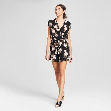 Women's Floral Print Short Sleeve Strappy Neck Romper