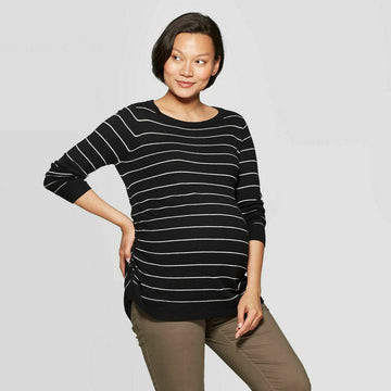 Maternity Striped Long Sleeve Essential Side Shirred Pullover - Isabel Maternity