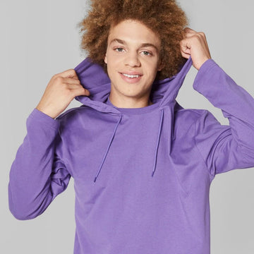 Men's Long Sleeve Hooded Pullover T-Shirt - Original Use Mountain Purple XS