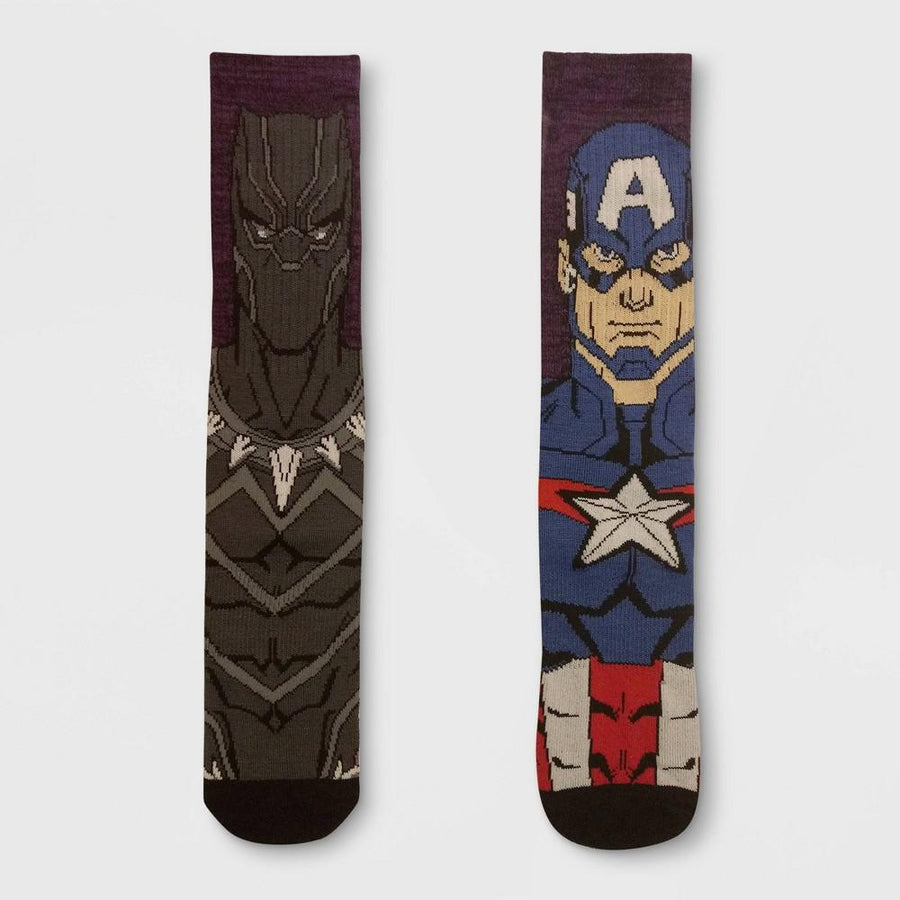 Men's Marvel Avengers 2pk Mismatched Athletic Crew Socks 7-12