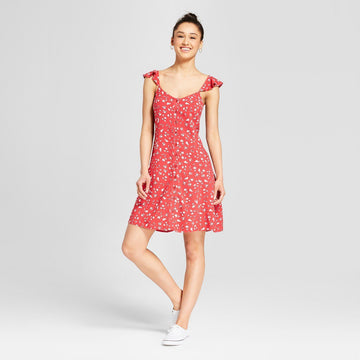 Women's Floral Button Front Ruffle Sleeve Dress - Mossimo