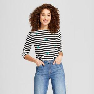 Women's Striped Sleeve Boatneck T-Shirt - A New Day
