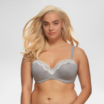 Paramour Women's Brilliance Lace Trim Seamless Bra - Gray