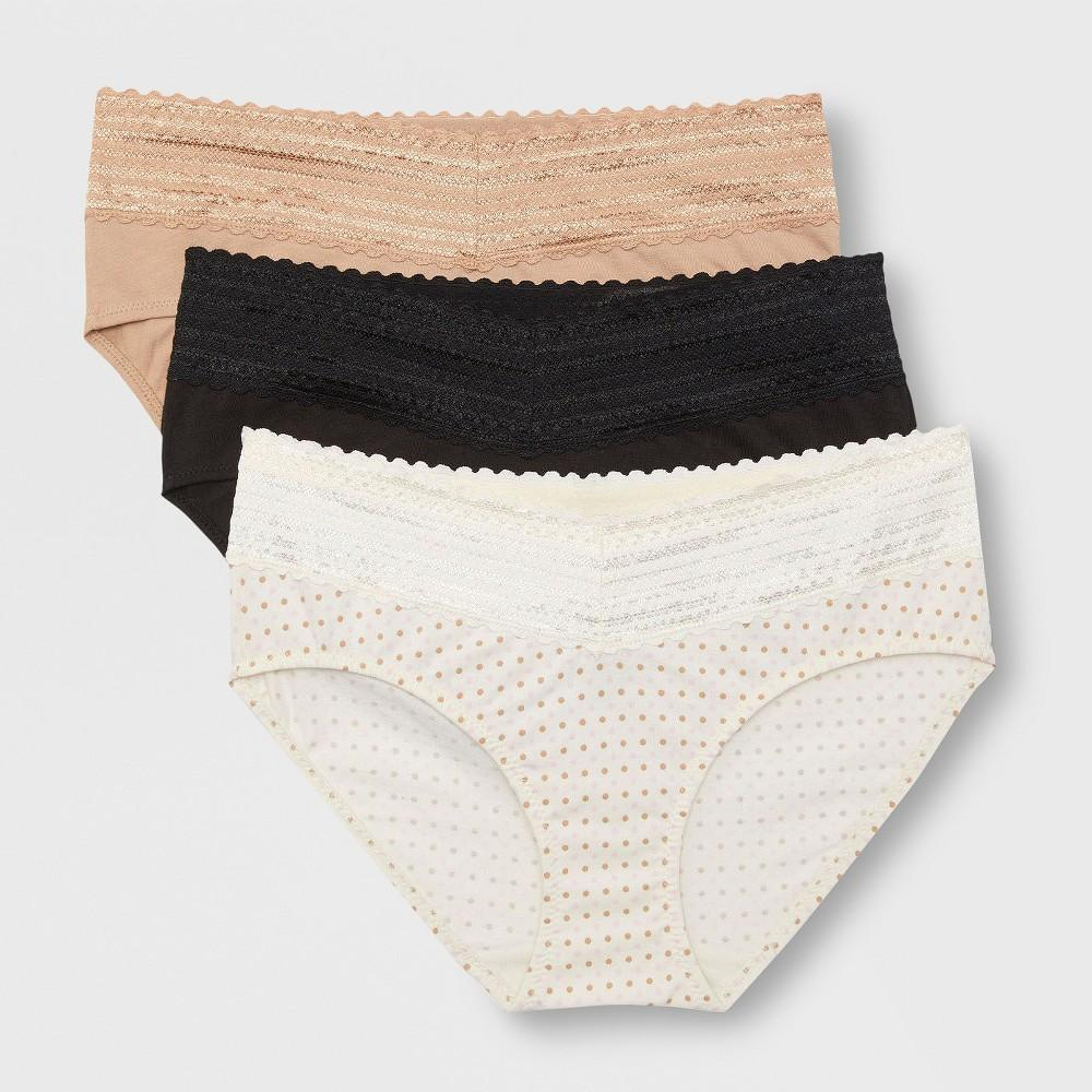 Simply Perfect by Warner's Women's 3pk No Muffin Top Lace Cotton Hipster Briefs