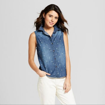 47a3be1bcf9701 Universal Thread Women's Sleeveless Denim Shirt