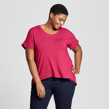 Ava & Viv Women's Plus Size Mixed Media Short Sleeve T-Shirt - Berry