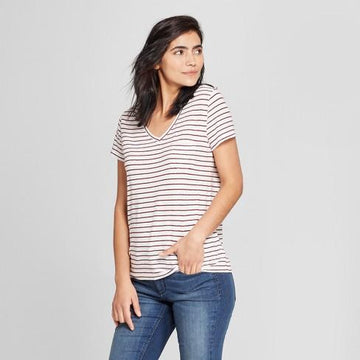 Universal Thread Women's Monterey Pocket V-Neck Stripe Short Sleeve