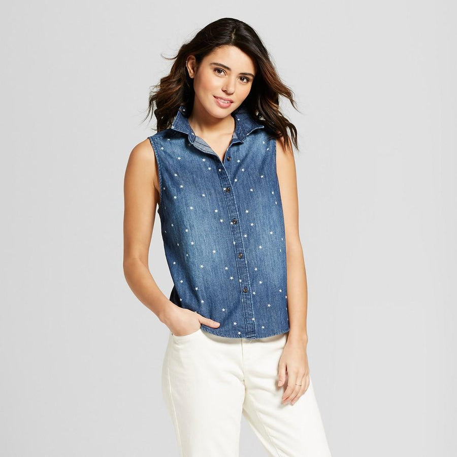 Universal Thread - Women's Sleeveless Denim Shirt Dark Wash - Stars