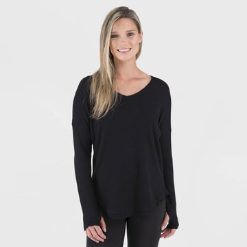 Wander by Hottotties Women's Waffle Collection Lea Long Sleeve V-Neck - Black