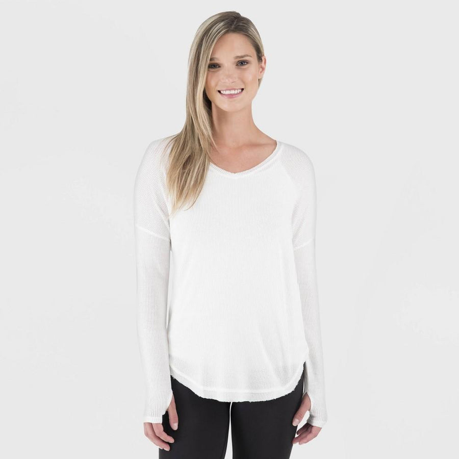 Wander by Hottotties Women's Waffle Collection Lea V-Neck - Ivory