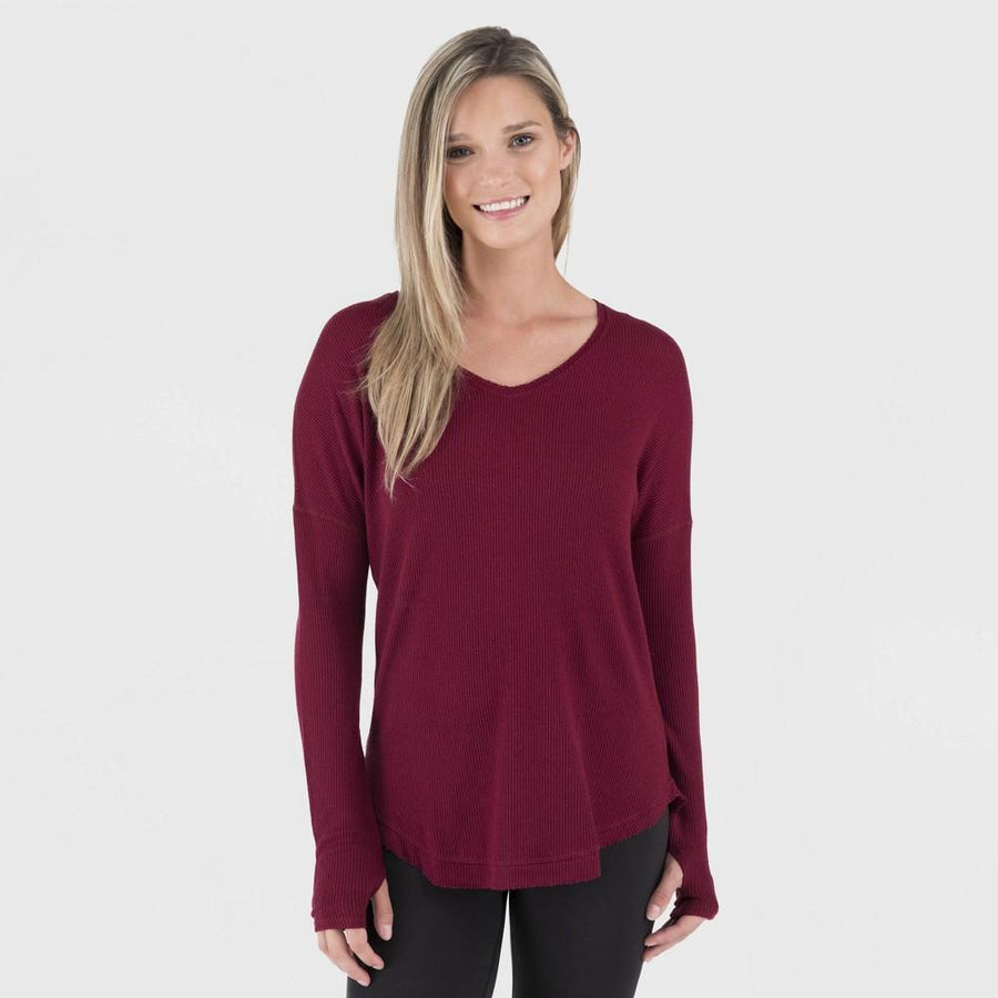 Wander by Hottotties Womens Waffle Collection Lea V-Neck - Pomegranate