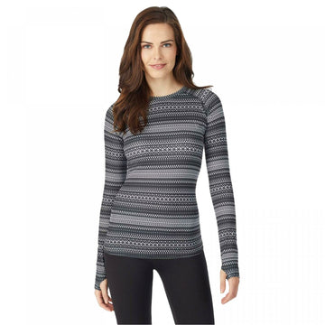Warm Essentials By Cuddl Duds Active Crew Top Geo Stripe