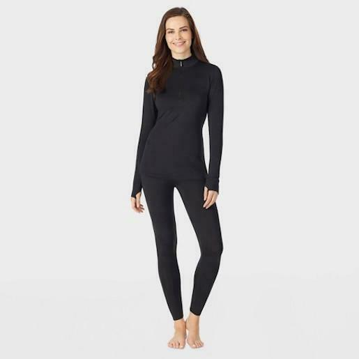 Warm Essentials By Cuddl Duds Women's Active 1/4 Zip Thermal Top - Black