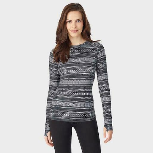 Warm Essentials Cuddl Duds Women Geo Striped Active Long Sleeve Crew Thermal