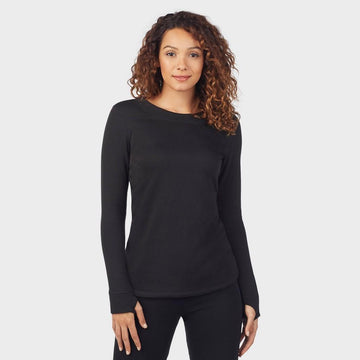 Warm Essentials by Cuddl Duds Women's Luxe Lined Jersey Thermal Crew - Black