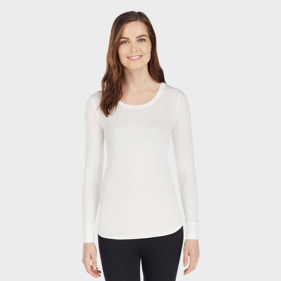 Warm Essentials by Cuddl Duds Women's Smooth Stretch Scoop Neck Top - Ivory