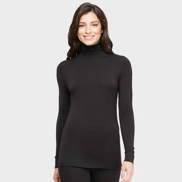 Warm Essentials by Cuddl Duds Women's Smooth Stretch Turtle Neck Top - Black