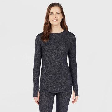 Warm Essentials by Cuddl Duds Women's Sweater Knit Crew Neck Thermal Top - Dark