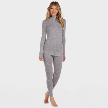 Warm Essentials by Cuddl Duds Women's Sweater Knit Crew Neck Thermal Top - Marle