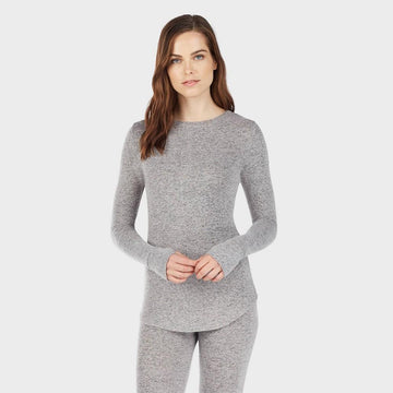 Warm Essentials by Cuddl Duds Women's Sweater Knit Crew Neck Thermal Top - Marled Grey