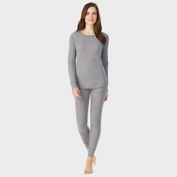 Warm Essentials by Cuddl Duds Women's Waffle Long Sleeve Scoop Thermal Top - Graphite Heather