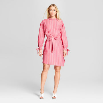 Who What Wear Women's Striped Long Sleeve Mock Neck Dress - Pink