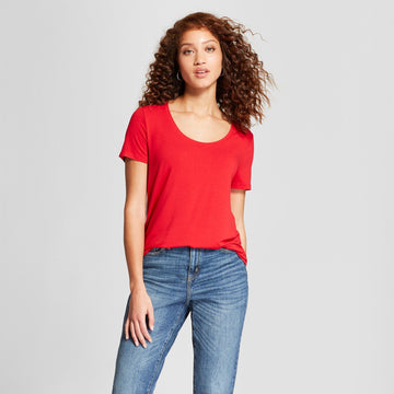 Women's Any Day Short Sleeve Scoop T-Shirt - A New Day Red