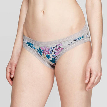 Women's Cotton Bikini with Lace - Auden Heather Gray Floral