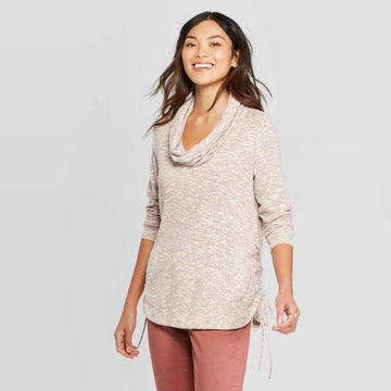 Women's Cowl Neck With Side LaceUp Detail Sweatshirt - Knox Rose Blush