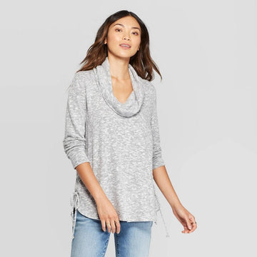 Women's Cowl Neck With Side Lace-Up Detail Sweatshirt - Knox Rose Gray