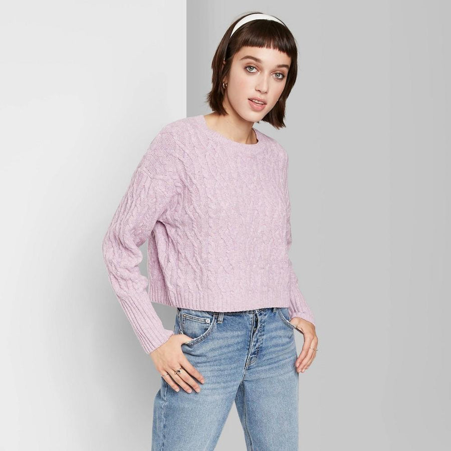 Women's Crewneck Cropped Cable Sweater - Wild Fable Lavender