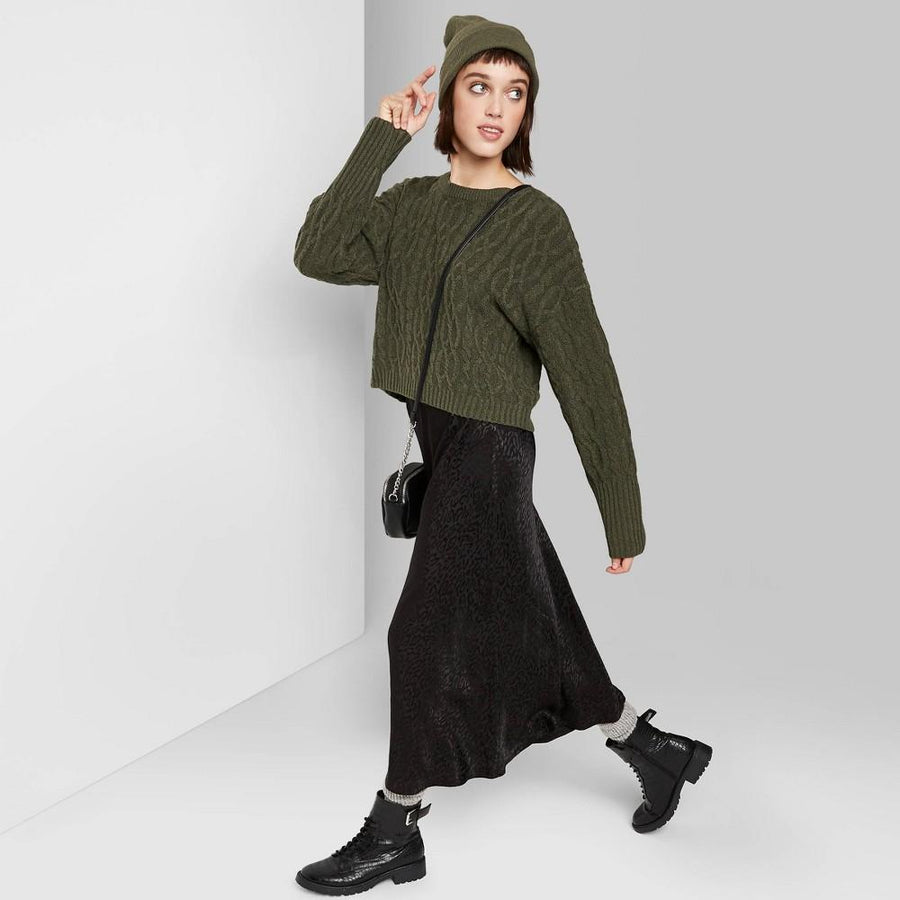 Women's Crewneck Cropped Cable Sweater - Wild Fable Olive