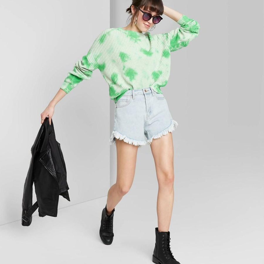 Women's Crewneck Oversized Tie-Dye Pullover Sweater - Wild Fable Green