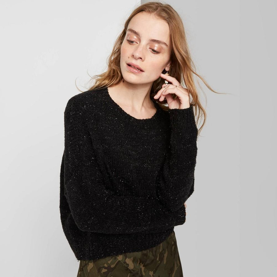 Women's Crewneck Tinsel Sweater - Wild Fable - Black