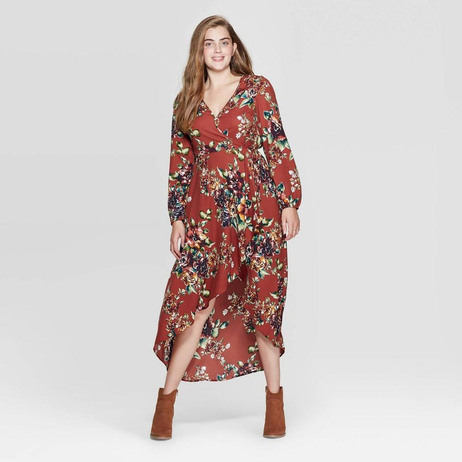 Women's Floral Print Long Sleeve Deep V-Neck High Low Hem Wrap Midi Dress - XHilaration