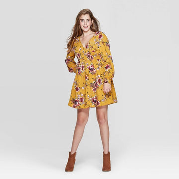 Women's Floral Print Long Sleeve V-Neck Smocked Waist Mini Dress - Xhilaration