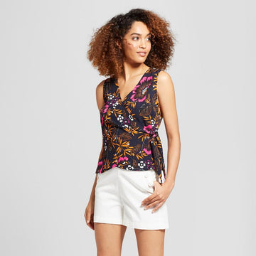 A New Day Women's Floral Print Sleeveless Wrap Blouse