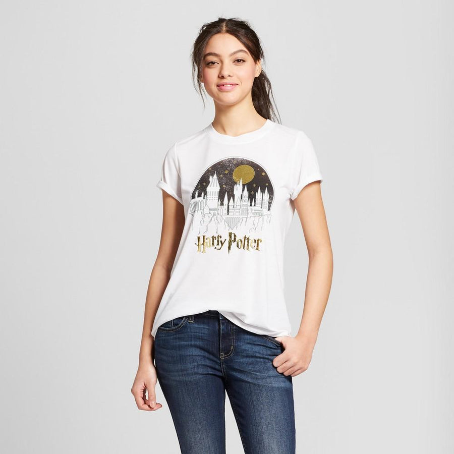 Women's Harry Potter Celestial School Moon Short Sleeve T-Shirt (Juniors)