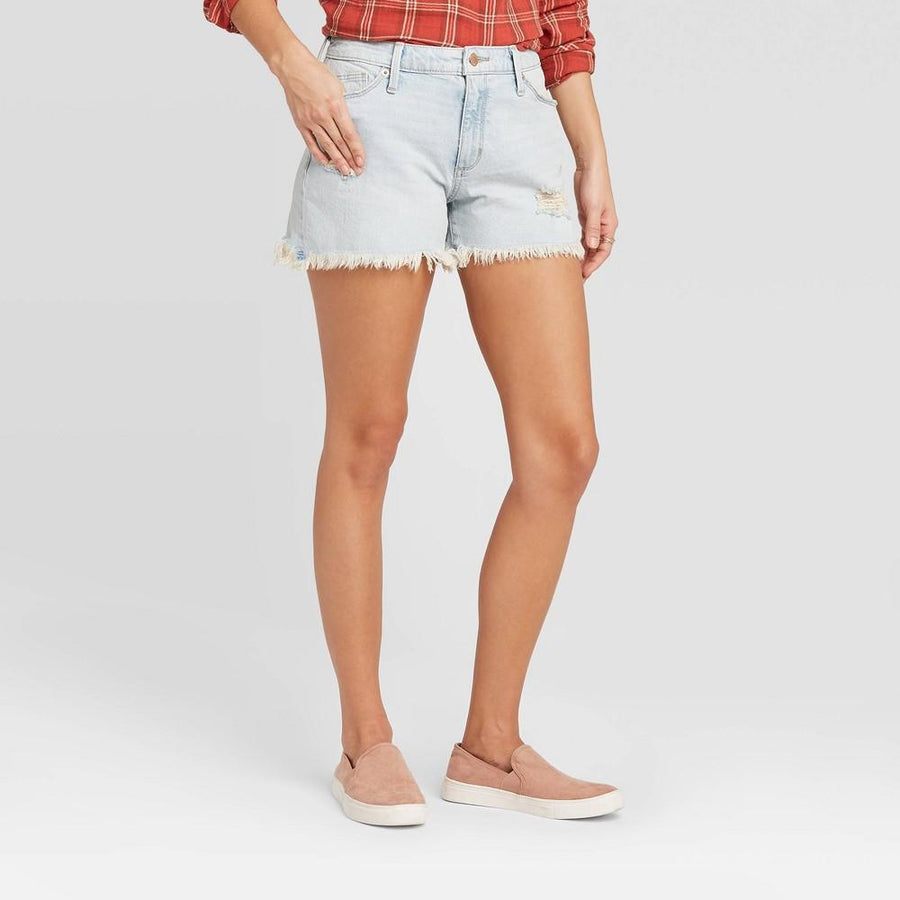 Women's High-Rise Distressed Jean Shorts - Universal Thread Light Wash