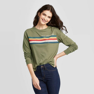 Keep Dreaming Striped Long Sleeve Graphic Tee (Juniors') - Zoe & Liv