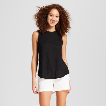 Women's Linen Tank - A New Day Black